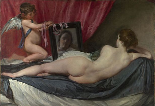 The Rokeby Venus by Velazquez shows Venus at her toilette.