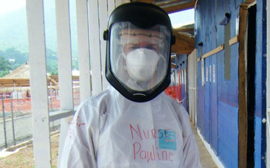 Nurse Pauline Cafferkey dressed to protect herself from the Ebola virus. She is currently recovering in hospital after having contracted the disease herself.