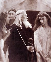 King Lear and his daughters, imagined by Julia Margaret Cameron. Believe it or not, that is Alice Liddell of Wonderland fame, on the right,