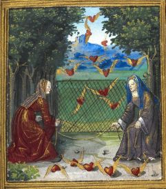 Women catching flying hearts from a French manuscript, Petit Livre d'Amour