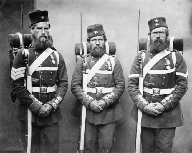 Sergeant John Geary, Thomas Onslow and Lance Corporal Patrick Carttay, 95th Regiment (Derbyshire) Regiment of Foot, wearing their packs and equipment. The 95th Regiment won eight Victoria Cross awards in the Crimea