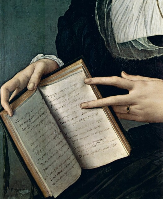 Detail from the portrait of the poet Laura Battiferri by Agnelo Bronzino