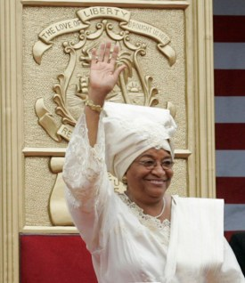 Liberian President Ellen Johnson Sirleaf waves to the crowd attending her inauguration in Monrovia, Liberia, Monday, Jan. 16, 2006. President Sirleaf is Africa's first female elected head of state. Mrs. Laura Bush and U.S. Secretary of State Condoleezza Rice attended the ceremony. White House photo by Shealah Craighead