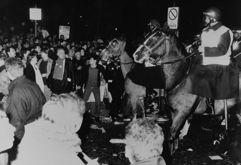 Mounted police break up demonstrating print workers in Wapping 1986.