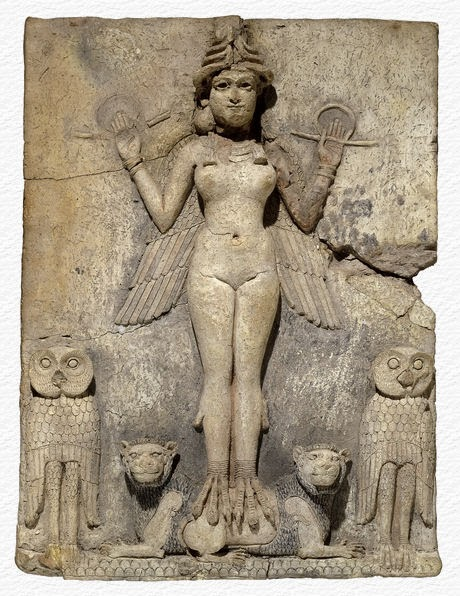 """The """"Queen of the Night"""" bas relief from Mesopotamia at the British Museum. Notice how she has the owls, like Pallas, and the lions."""