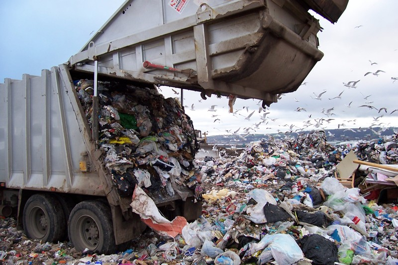 Trash truck in Maine