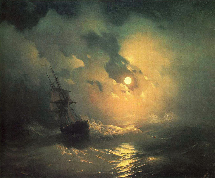 Stormy Sea at Night, Ivan Aivazovsky, painted last time Neptune and the South Node were in Pisces