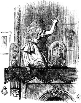 These illustrations are by John Tenniel for the first edition. Here Alice has climbed up on to the mantlepiece and starts to go through the glass.