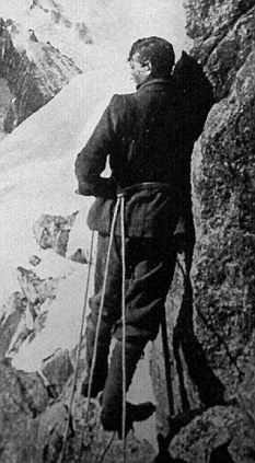 George Mallory on the Aiquille Verte mountain in France in 1909