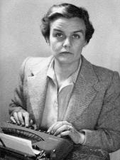 Clare Hollingsworth at her typewriter. She found her vocation on her progressed lunar return.