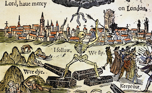 A woodcut of the plague in London in 1665. That year Pluto was square to the Moon in the 1066 chart for England.