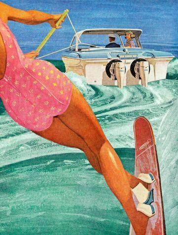 Vintage water skiing poster