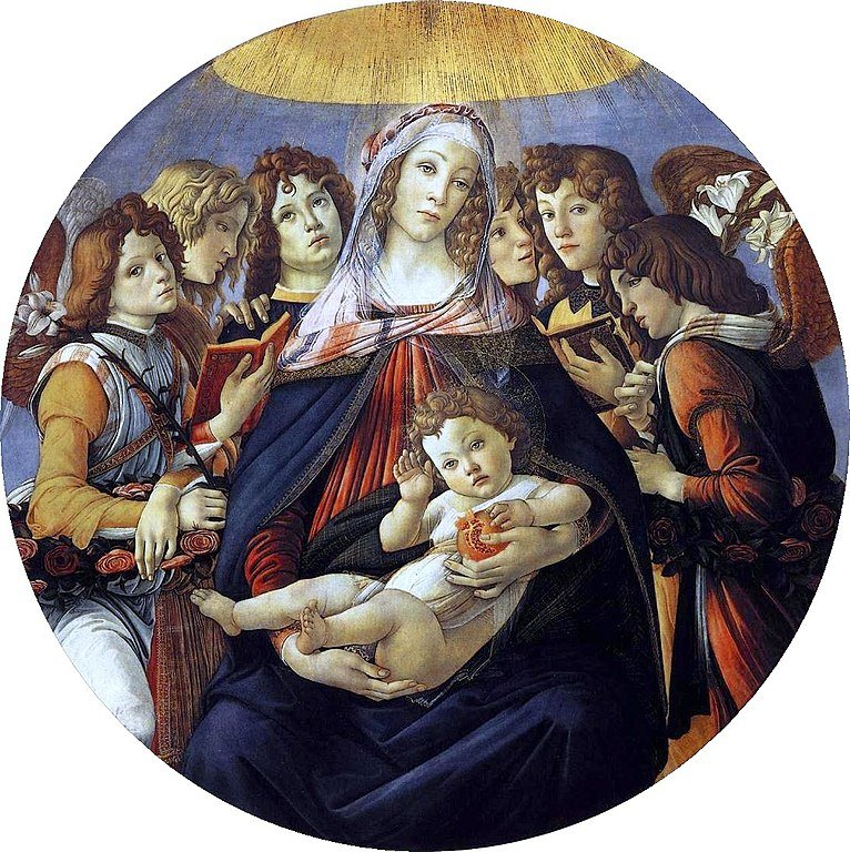 The original Madonna of the Pomegranates in the Uffizzi Gallery in Florence