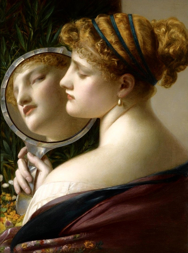 The pearl by Frederick Sandys illustrates porcelain skin and a selfie