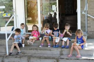 VBS kids on porch 1