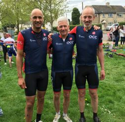 Tony Trafford, Paul Antony and James Piggot all smiles after that early season leg tester, the White Horse Challenge, which heads out from Shrivenham into Wiltshire and the Ridgeway.