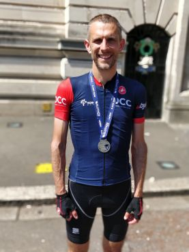 Tom Chapman after taking part in the Velothon Wales with his Dad