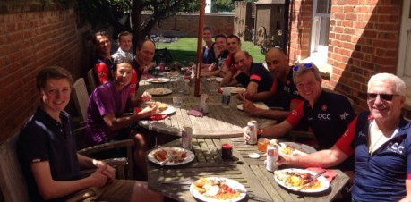Post club ride Full English Breakfast at Webby's house, to raise money for Sobell House