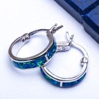 BEST SELLER! Blue Australian Opal Hoop .925 Sterling ...