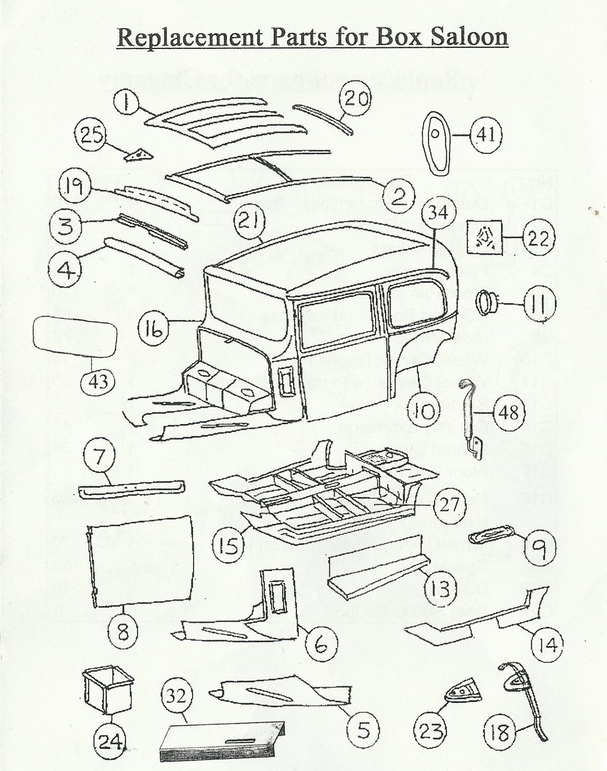 Austin Seven Box Saloon Body Parts And Panels