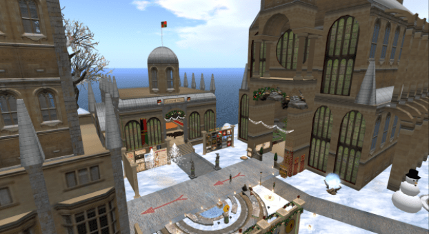 The huge campus at Caledon. Second Life.