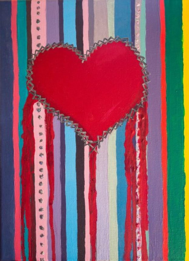 digital vs analogue art mixed media canvas acrylics glitter painting heart stitches