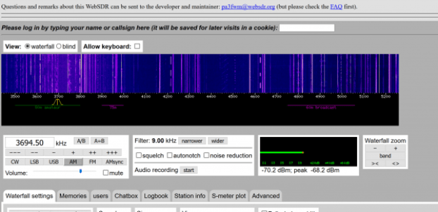 web browser based radio tuner at WebSDR.