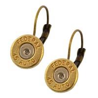 Little Black Gun 45 Caliber Bullet Leverback Earrings, Thin