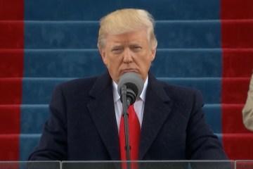 Trump giving inauguration speech