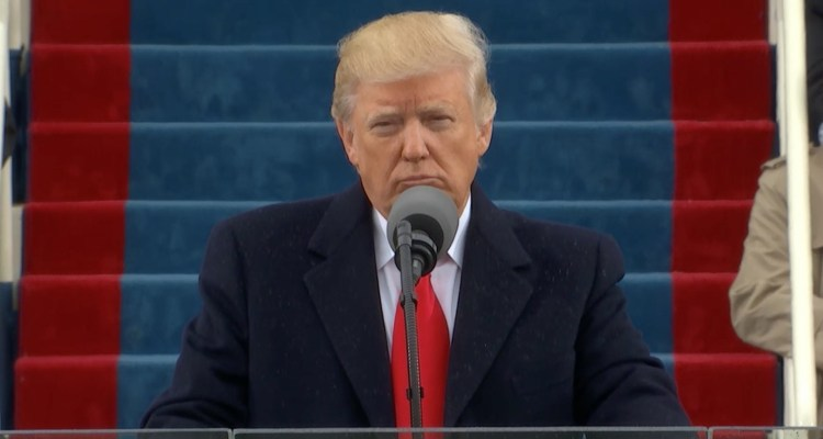 Trump giving inauguration speech