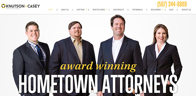 best law firm website knutson casey