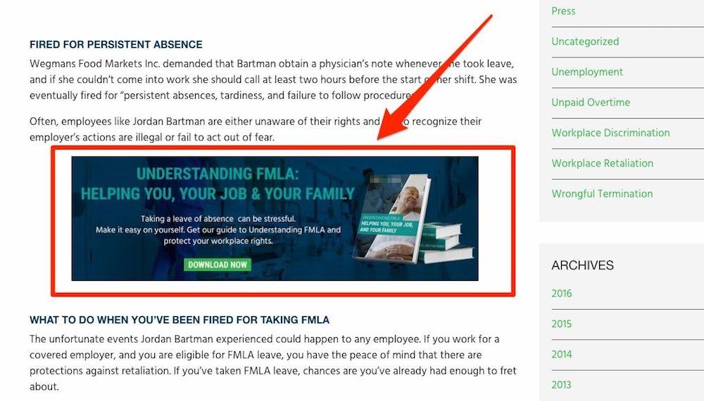 ebook cta law firm website content ideas