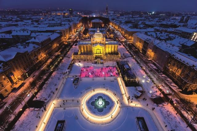 The Ice Park on Zagreb's King Tomislav Square. D. Rostuhar/Croatian National Tourist Office.