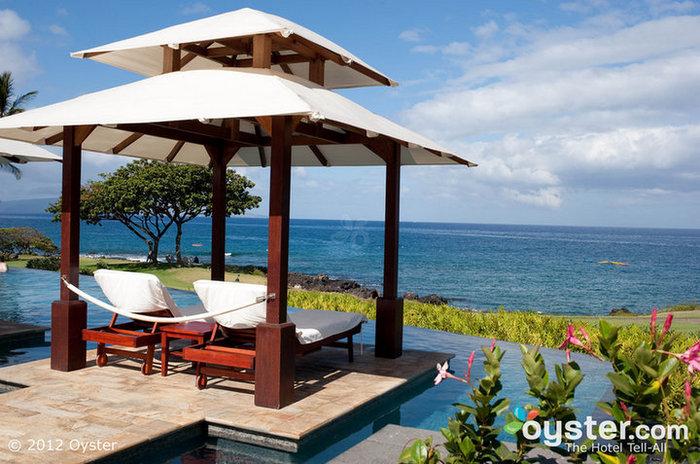 Sexy cabanas overlook the infinity pool and the ocean at the Marriott Wailea Resort.