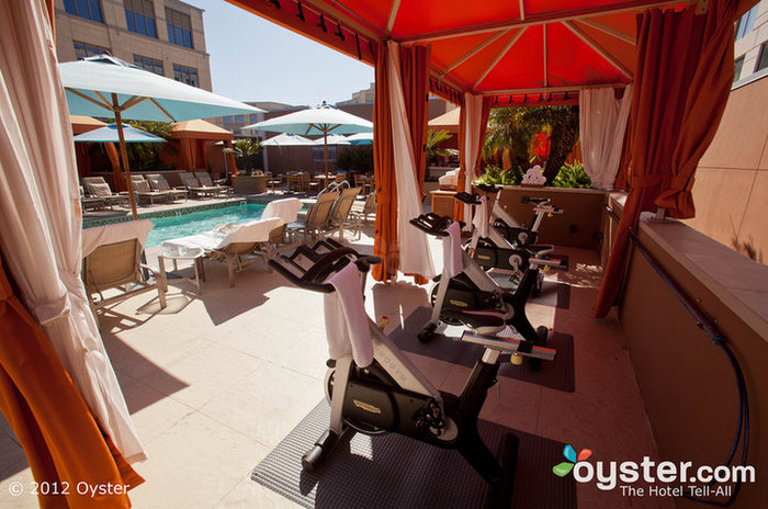 Forget the indoor gym -- the Four Seasons has a fitness cabana by the pool.