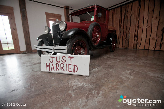 The event space comes complete with this old school truck, ready to take you on to your honeymoon.