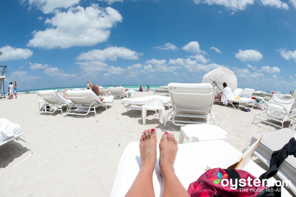 Beach at the Delano South Beach Hotel.