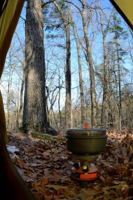 Coleman Exponent Stove - Heating the water for our morning coffee, Rock Pile Mountain Wilderness, Madison County, Missouri - March 2012