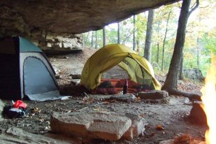Mutha Hubba tent tucked under a ledge near Hawksbill Crag, Arkansas