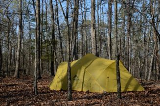 Mutha Hubba tent camped at Rock Pile Mountain Wilderness, Missouri. You can fit this tent into some tight places.