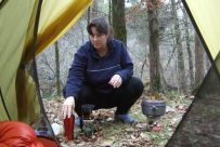 Ginger makes the early morning coffee in the Hurcules Glades Wilderness