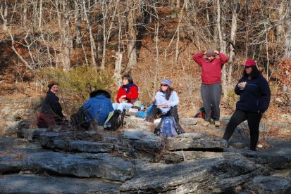 Hikers stopped for lunch at the Long Creek Falls, Hercules Glades Wilderness