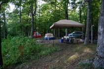 Camped at the Pines Overlook, Red Bluff Campground, Davisville, Missouri