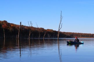 Ginger Davis Allman Kayaking on Harry S Truman Lake in November 2010