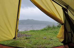 View from the tent on a rainy day at Loch Rannoch. Our only really rainy day in Scotland, and it cleared up later.
