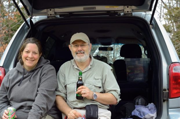 Gary enjoys an end of trail beer. Ten and a half miles and 1,100 feet of elevation gained. Not too bad carrying winter packs. - Hercules Glades Wilderness, Tower Trailhead