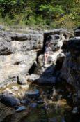 Lanie in the dry Long Creek Falls