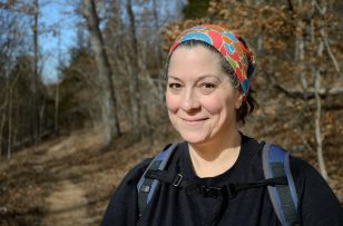 Ginger Davis Allman wearing a 'Hoo Rag' on the Silver Trail at Busiek State Forest and Wildlife Area