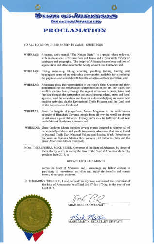 Arkansas Great Outdoors Month Proclamation - May 2013