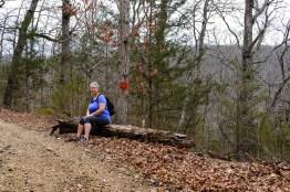 Ginger waiting for Gary before the main climb on the Busiek Orange Trail.